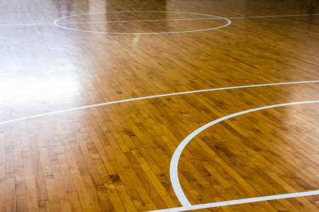 wooden floor basketball court 免版税图像