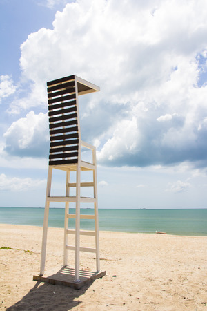 life guard stand: lifeguard tower  observation chair on tropical beach