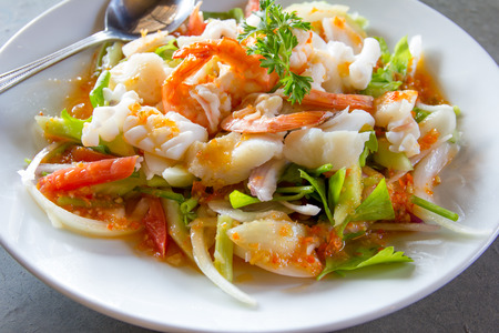 spicy food: delicious spicy seafood thai food