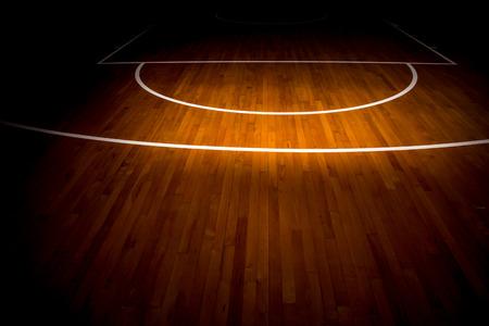 houten vloer basketbalveld Stockfoto