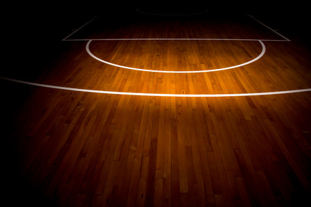 light game: wooden floor basketball court Stock Photo
