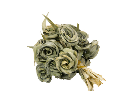 dry leaf: Flower bouquet made from green Pandan leaf Stock Photo