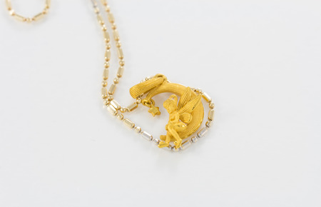 gold necklace: Gold necklace pendant fairy