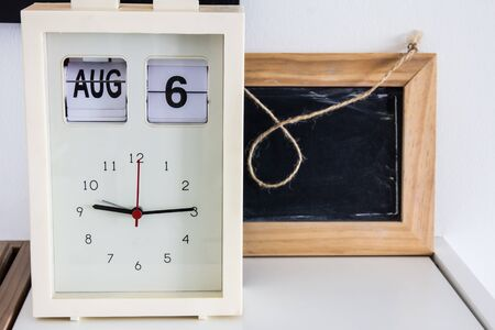 mantel: Decoration room clock on a table Stock Photo