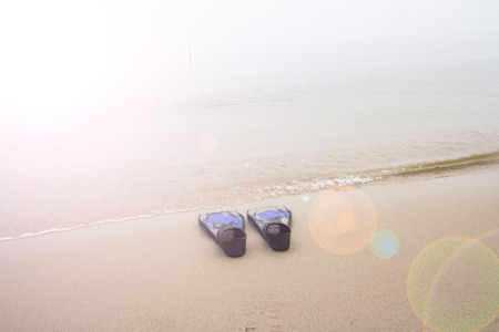 single fin: Blue diving fins on  the beach