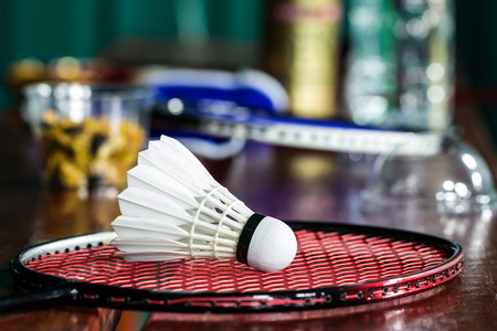 badminton: Close up shuttlecock on badminton rackets
