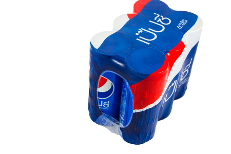 coke bottle: THAILAND - OCTOBER 12, 2015: Pepsi Can On White Background