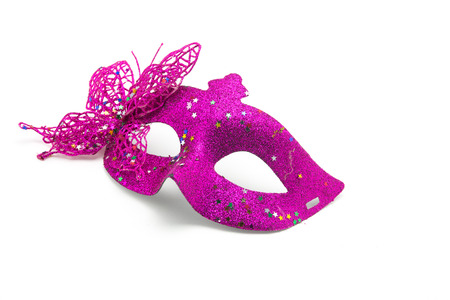 masquerade mask: Carnival mask decorated with designs on a white background Stock Photo