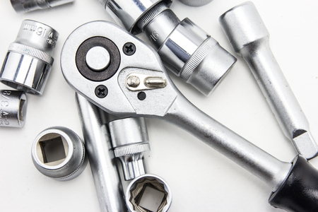 car engine: close up car engine with tools