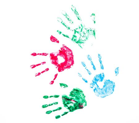 wall paint: Color Hand Print On White Background