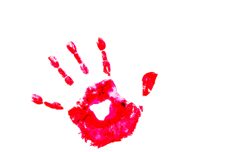 hand print: Hand Print On White Background Stock Photo