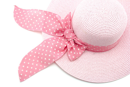 pink hat: Pink hat on white background