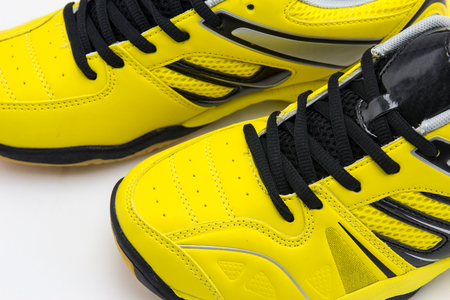 athletic wear: yellow sport shoes Stock Photo