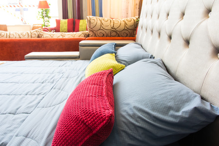 modern bedroom: Empty modern bed in bedroom Stock Photo