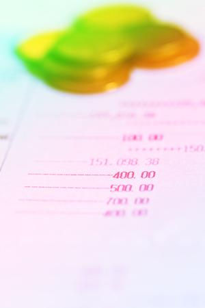 bank records: Close up of saving account passbook