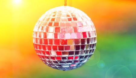 mirrorball: Disco ball light reflection background Stock Photo