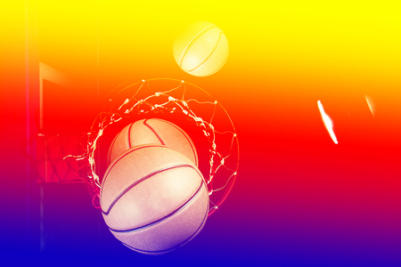 game over: Basketball on  black background with light effect Stock Photo