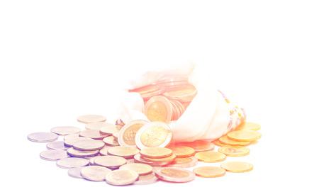 silver bullion: Savings, increasing columns of coins Stock Photo