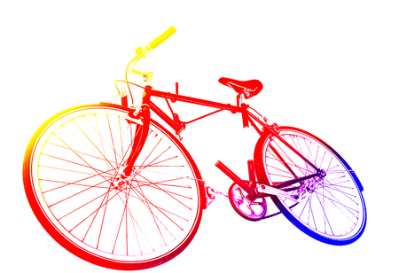 fixed: bicycle fixed gear on white wall with color filters