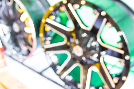 alloy: blurred alloy wheels in store