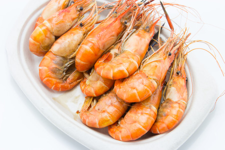 langoustine: steaming shrimp on the plate