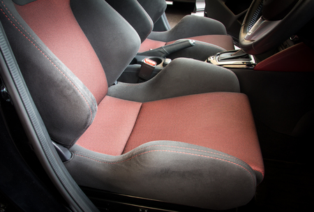 suede belt: car seat Stock Photo