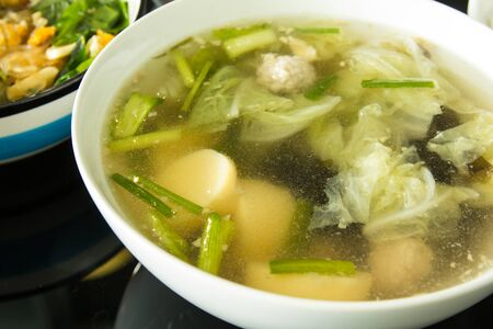 Soup with vegetables, Tofu and pork
