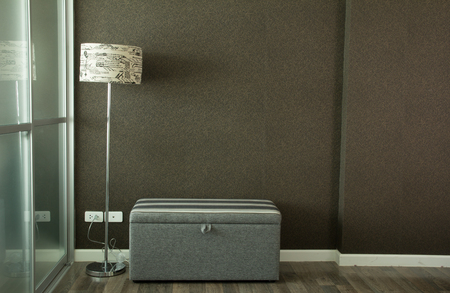 living room wall: Living room with lamp and wall background vintage style Stock Photo