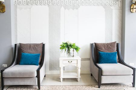 modern living: Modern interior decorated living room Stock Photo