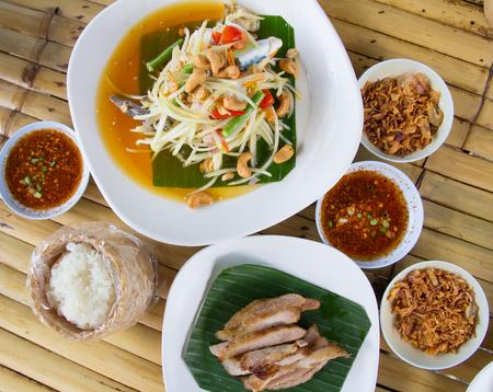 Papaya salad. Traditional spicy Thai food.(Som-Tum) Stock Photo