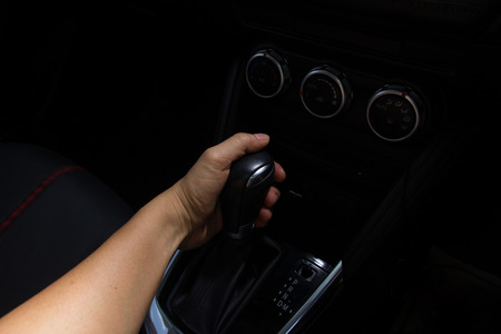 inwards: Luxury car Interior -  shift lever Stock Photo