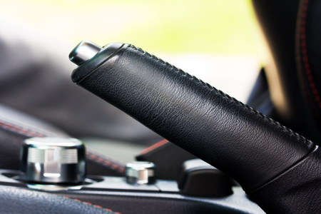 inwards: handbrake.Car Interior Stock Photo
