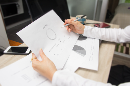 Business documents on office table