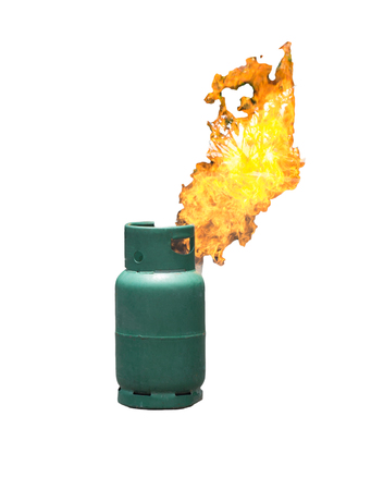 Gas flame from gas tank isolate on white background Stock Photo