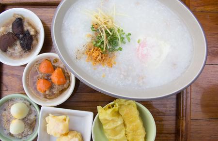 Porridge with dim sum on plate