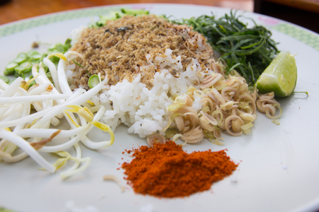 rice mixed with vegetable.Thai food