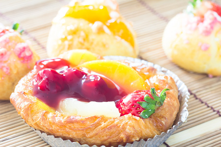 Close up danish with choux cream bakery Stock Photo