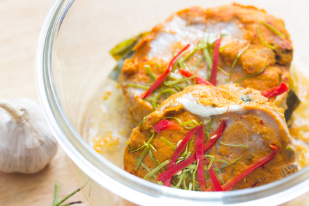 Steamed seafood with curry paste. Thai food