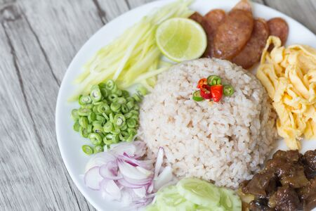Fried rice with sausage, Thai food