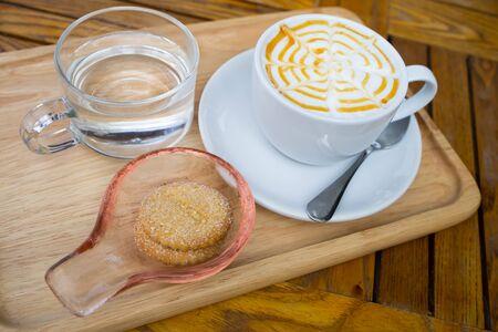 caramel latte art on table