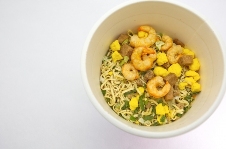 cooked instant noodle: CUP NOODLES  Stock Photo