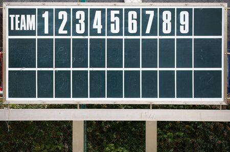 infield: Baseball scoreboard Stock Photo