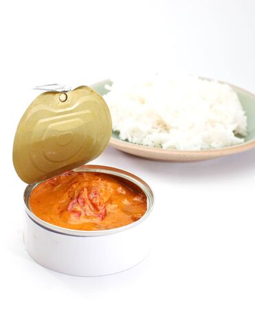 Red curry in can with rice photo