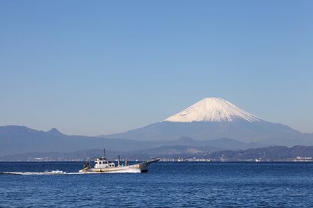 Mt Fuji and the ocean photo