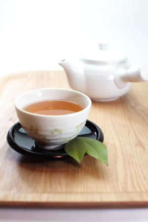 chinese tea cup: Green tea Stock Photo