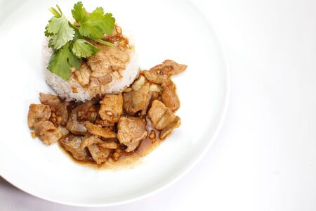 Fried pork with garlic and pepper , Thai food photo