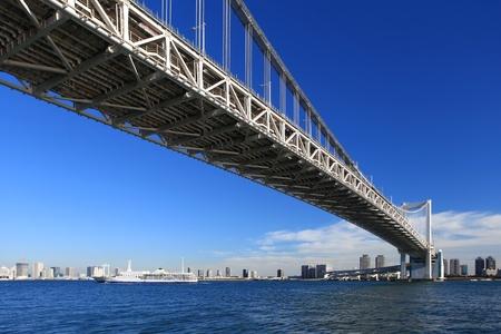 Rainbow Bridge from Odaiba, Tokyo, Japan Stock Photo