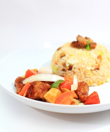 sweet course: Fried rice and Fried sweet and sour sauce  Stock Photo