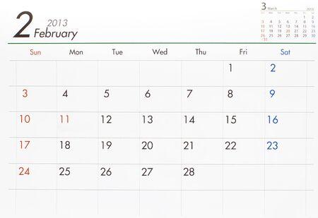 quarterly: February 2013 Calender