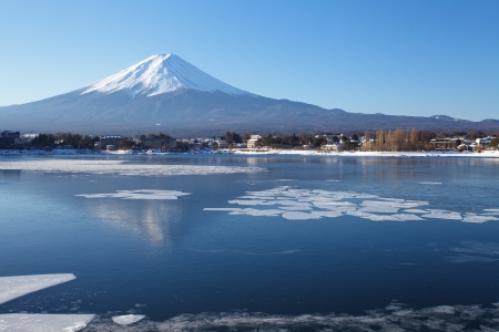 snow capped: Mountain Fuji Stock Photo